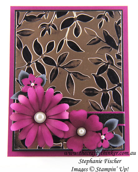 Sponged embossed background, Floral card, Layered Leaves embossing folder, Daisy, #thecraftythinker, Stampin Up Australia Demonstrator, Stephanie Fischer, Sydney NSW