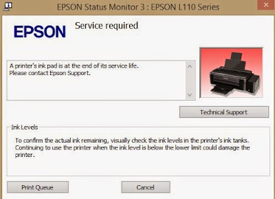 A printer's ink pad is at the end of its service life. Please contact Epson Support