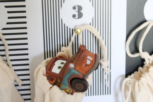 Adventskalender Ideen Befuellung fuer Kinder Cars 3 Beutel Jules kleines Freudenhaus