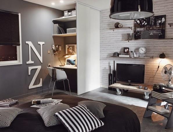 Habitaci n juvenil en color negro y blanco dormitorios for Dormitorio gris y negro