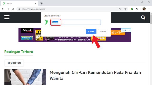 menyimpan shortcut di desktop