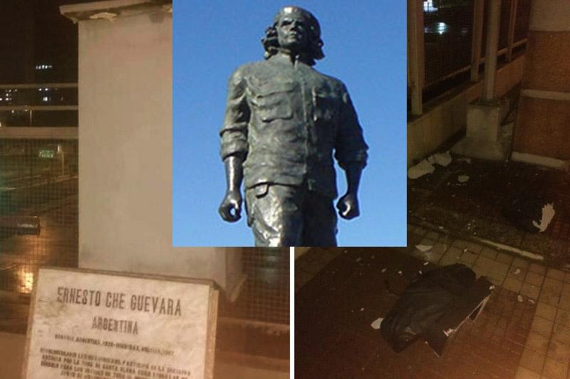 Explotaron la horrible estatua del Ché Guevara en la Avenida Bolívar Caracas
