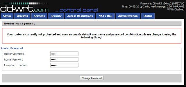 Change default user id and password