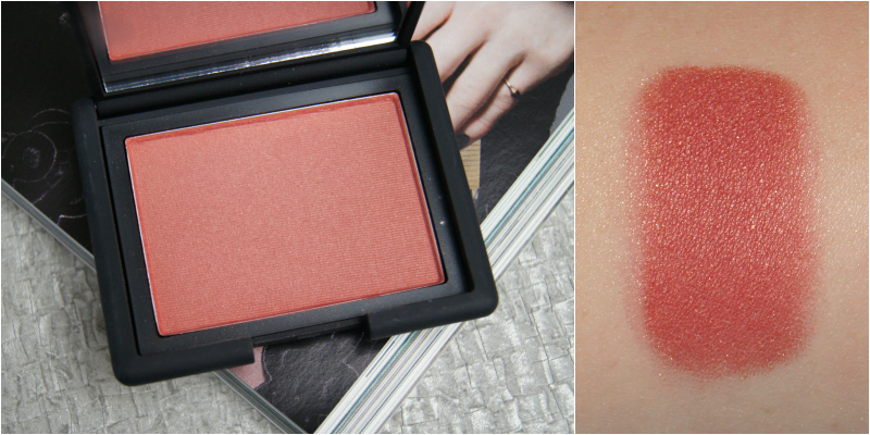 nars taos powder blush review swatch raspberry red shade golden shimmer natural flush of colour