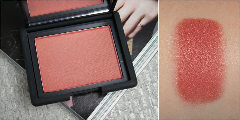 nars taos powder blush review swatch raspberry red golden shimmer natural flush amazing dark skin