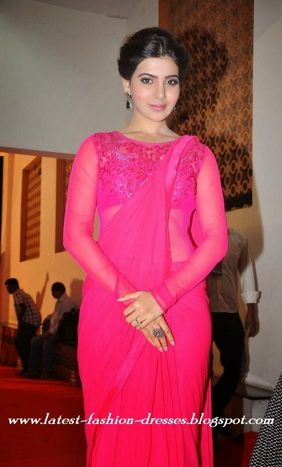 samantha in net pink colour full sleeve blouse