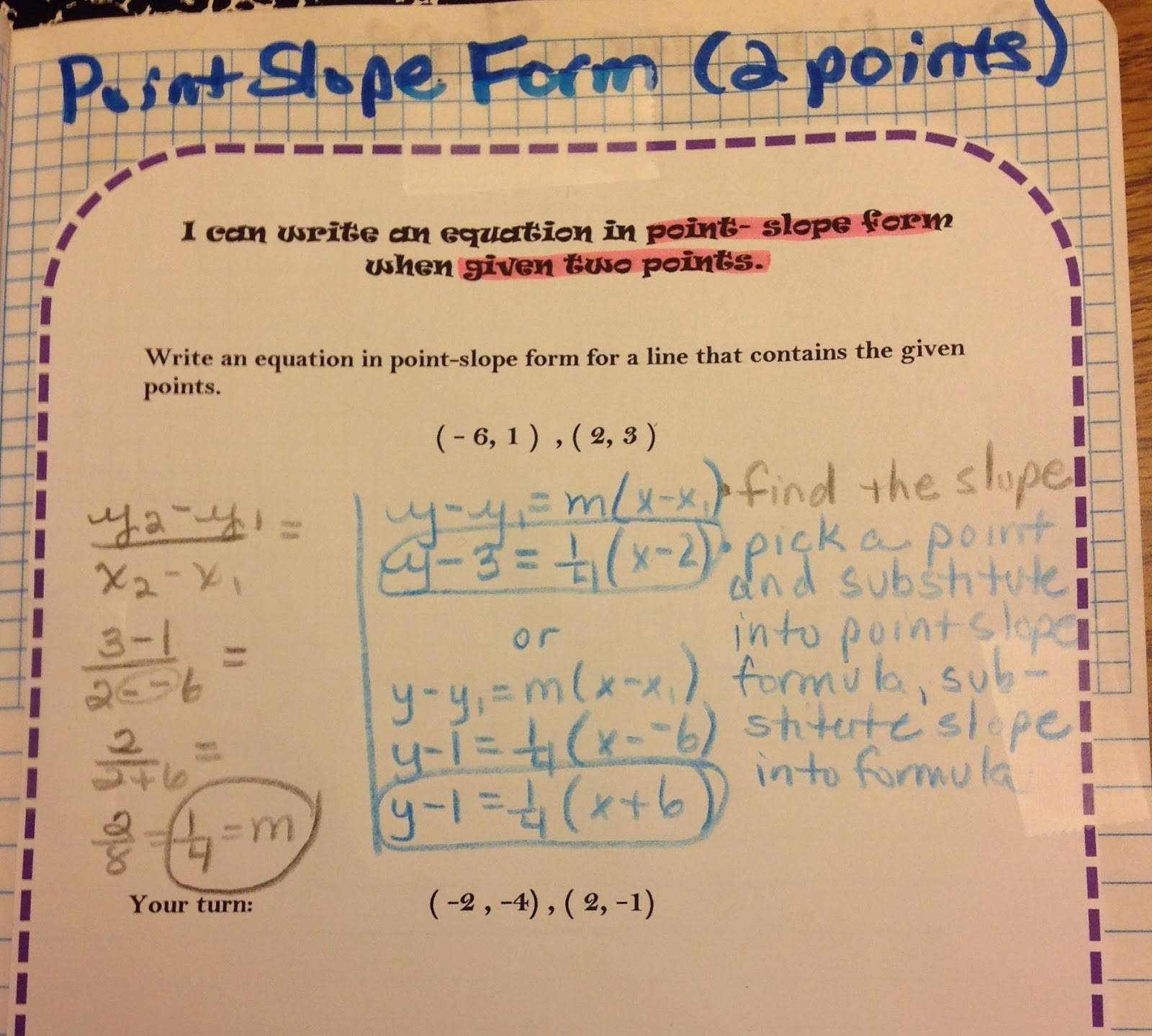 Equation freak slope interactive notebook pages the students picked 4 more sets of points to complete on the 2nd graph falaconquin
