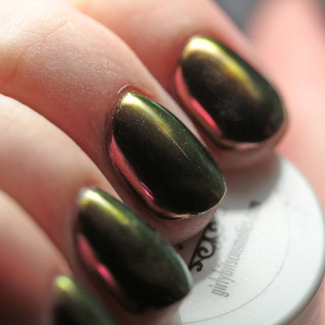 Girly Bits Cosmetics SFX Multi-Chrome Powder Conjure over black gel