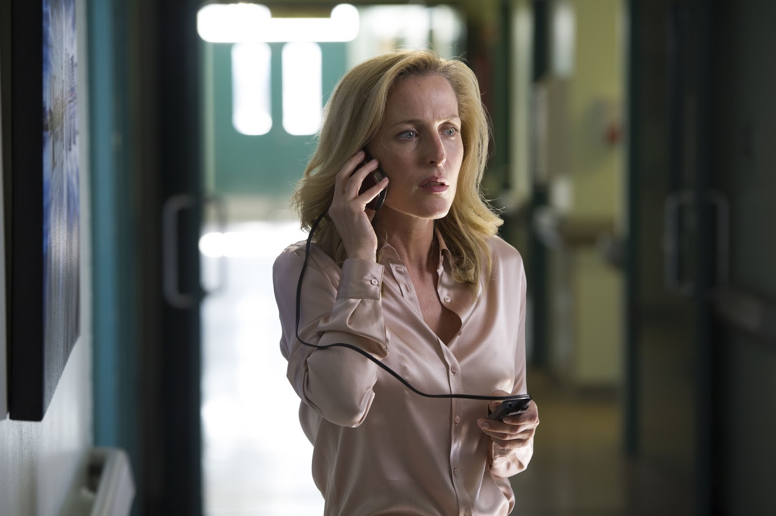 b581588bf58 Gillian Anderson - various satin blouses. From a mixture of TV Shows