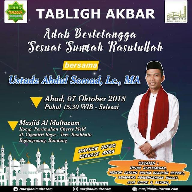 Yuuk Hadiri Tabligh Akbar Bersama Ustadz Abdul Somad Sore Ini di Bandung