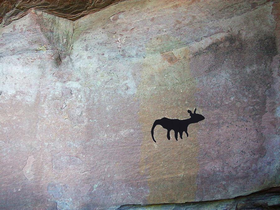 Abrigo del Huerto de Las Tajadas con esquema de pintura
