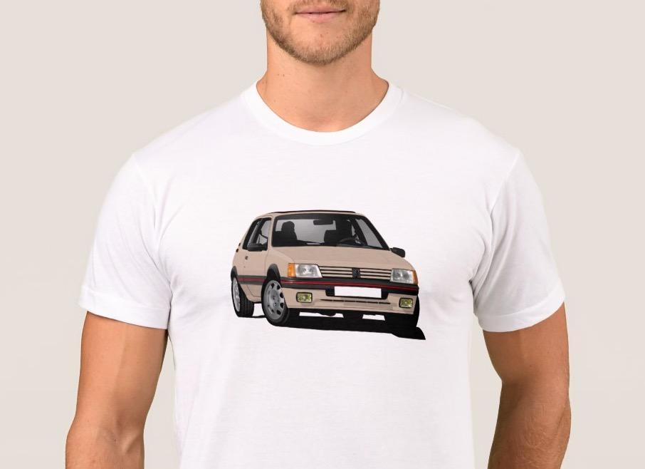 Cornering  beige Peugeot 205 GTi t-shirt