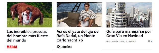 """Foto de Rafa Nadal en un yate, con el texto """"Así es el yate de lujo de Rafa Nadal, un Monte Carlo Yacht 76"""". Firmado como """"Expansión"""""""