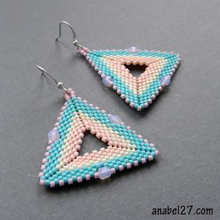 серьги-треугольники из бисера - украшения от Anabel