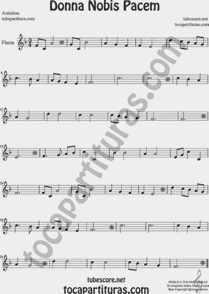 Donna Nobis Pacem Partitura de Flauta Travesera, flauta dulce y flauta de pico Sheet Music for Flute and Recorder Music Scores
