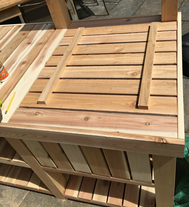 diy potting bench outdoor bar build