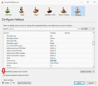 VLC Ignore keyboard volume button