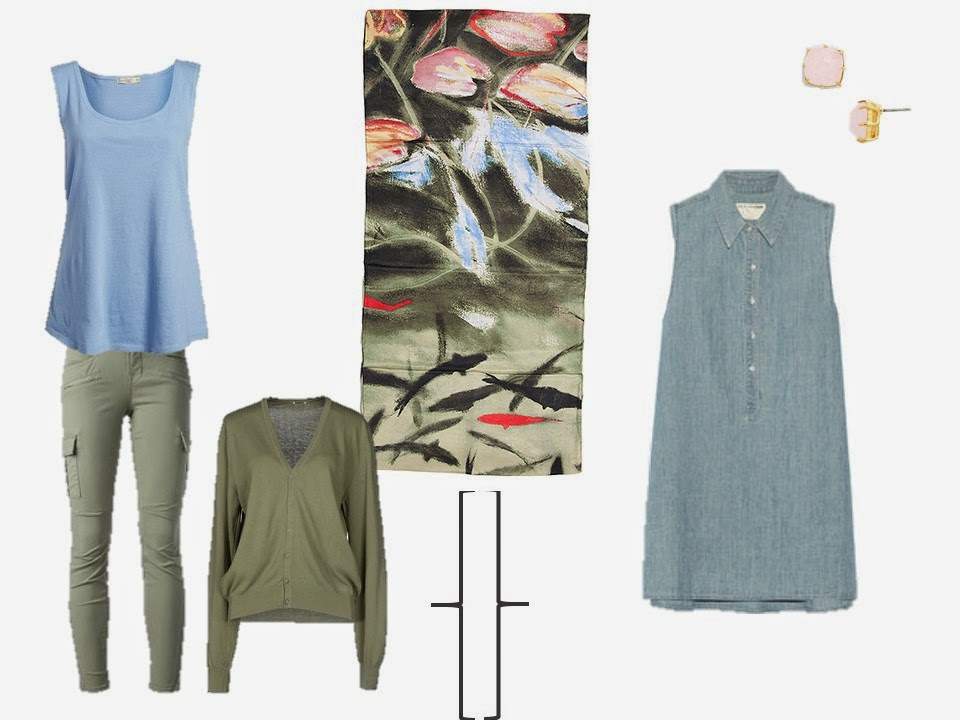 olive green trousers and sweater with light blue top; chambray dress