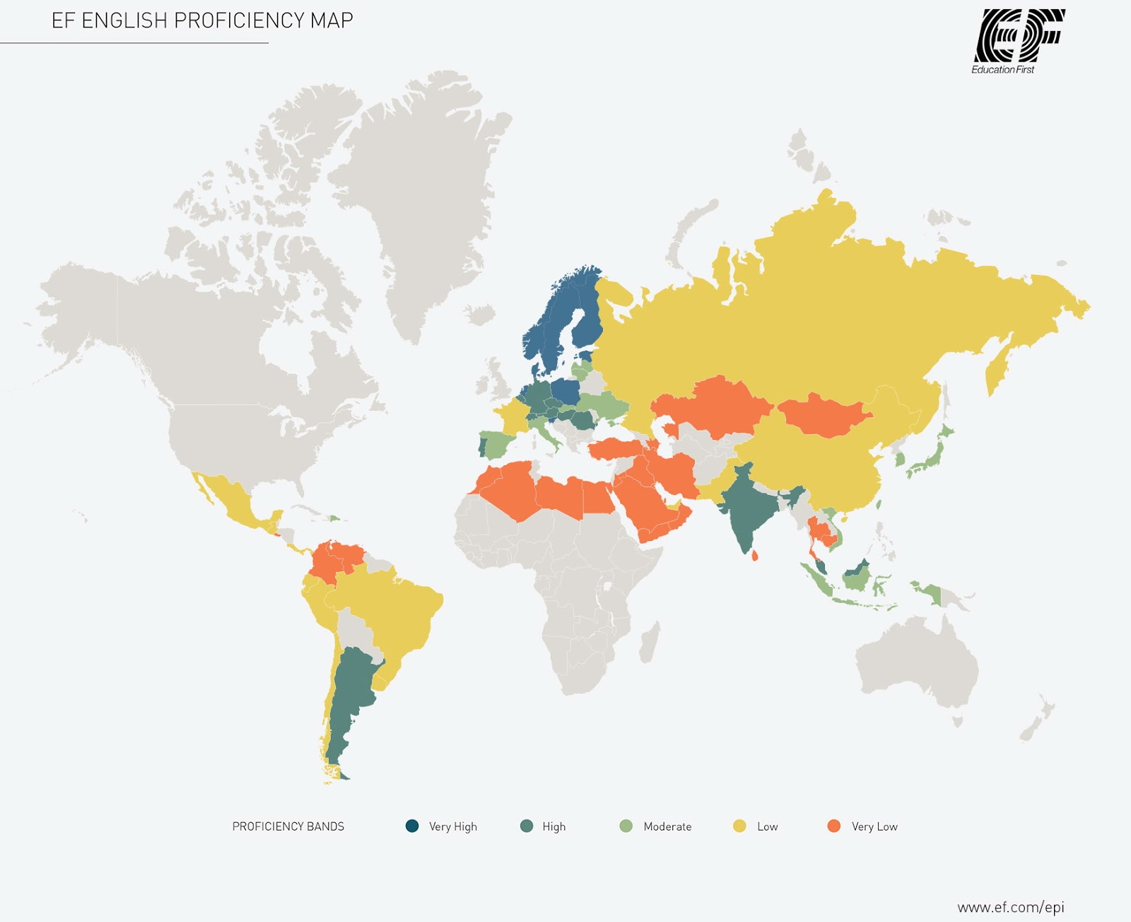 World's English Proficiency Index (2015)