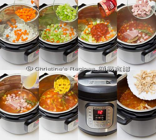 雞絲火腿雜菜番茄湯製作圖 Chicken and Tomato Soup Procedures
