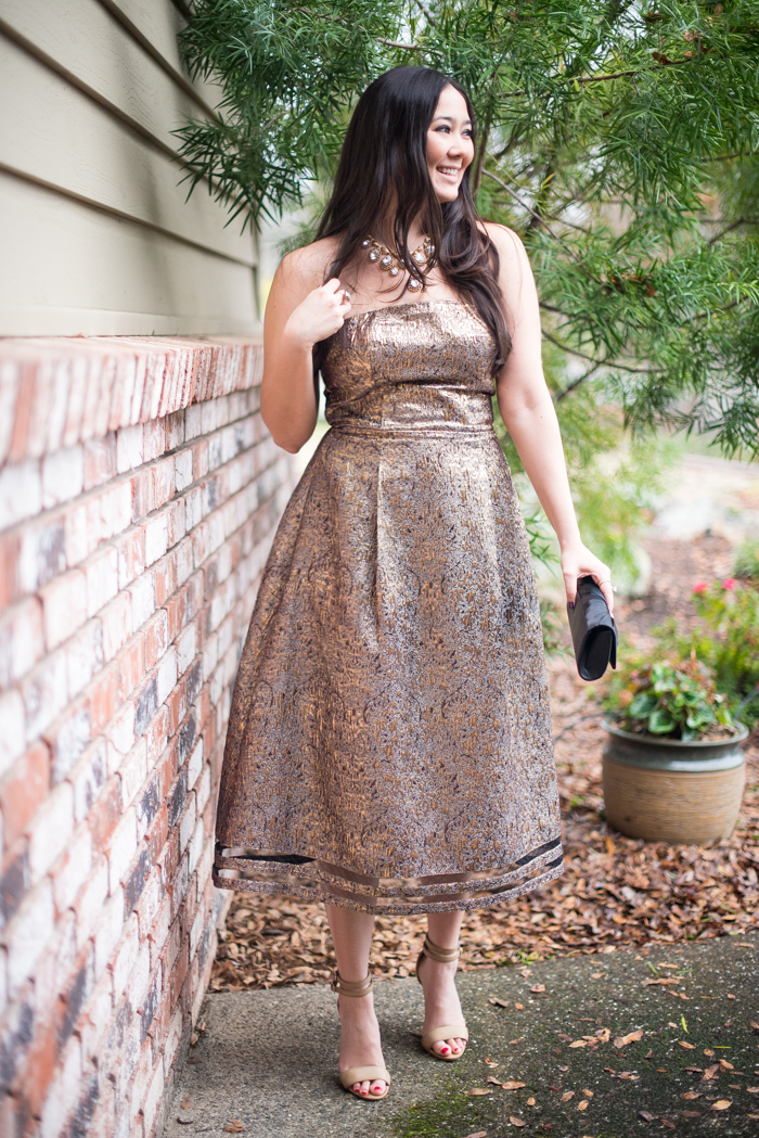 gold wedding guest dress