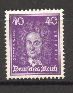 Gottfried Wilhelm Leibniz, German mathematician and philosopher German Reich Stamp
