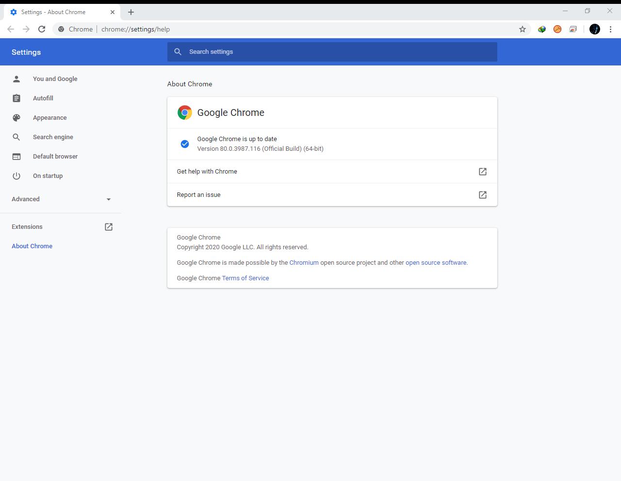 Google Chrome Browser 80.0.3987.116