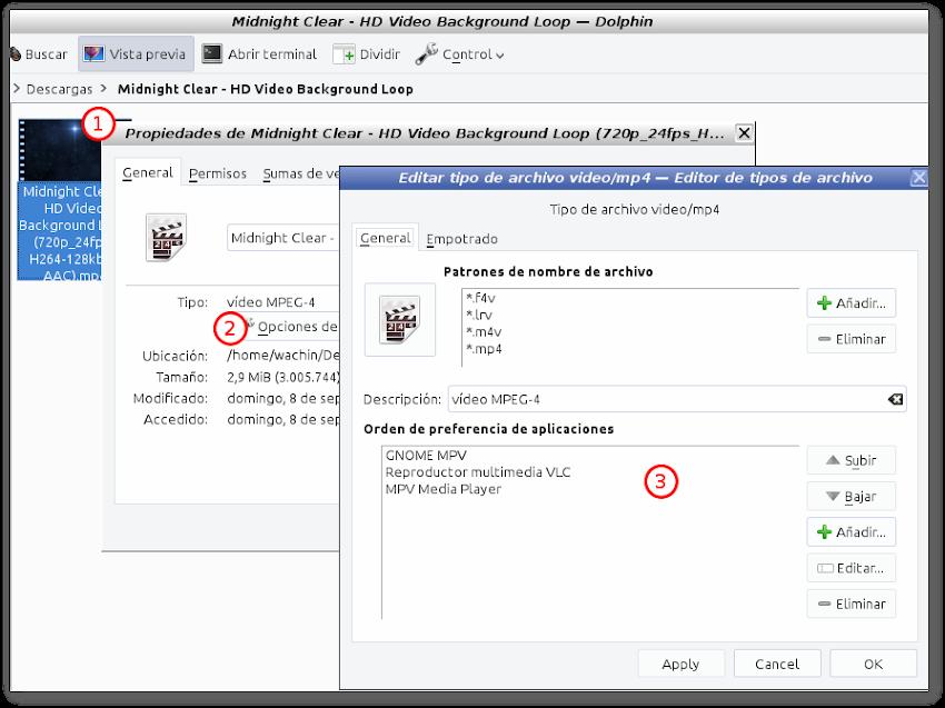 """No funcionan en propiedades """"Opciones de tipo de archivo"""" de archivo del administrador de archivos Dolphin en antiX 17.4.1 (podría servir para debian 9 stretch)"""