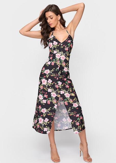Floral Slit Halter Maxi Dress