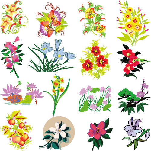 Flores variadas - Vector