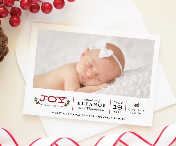 Banter and Charm Birth Announcement Christmas Cards – Holiday Birth Announcements