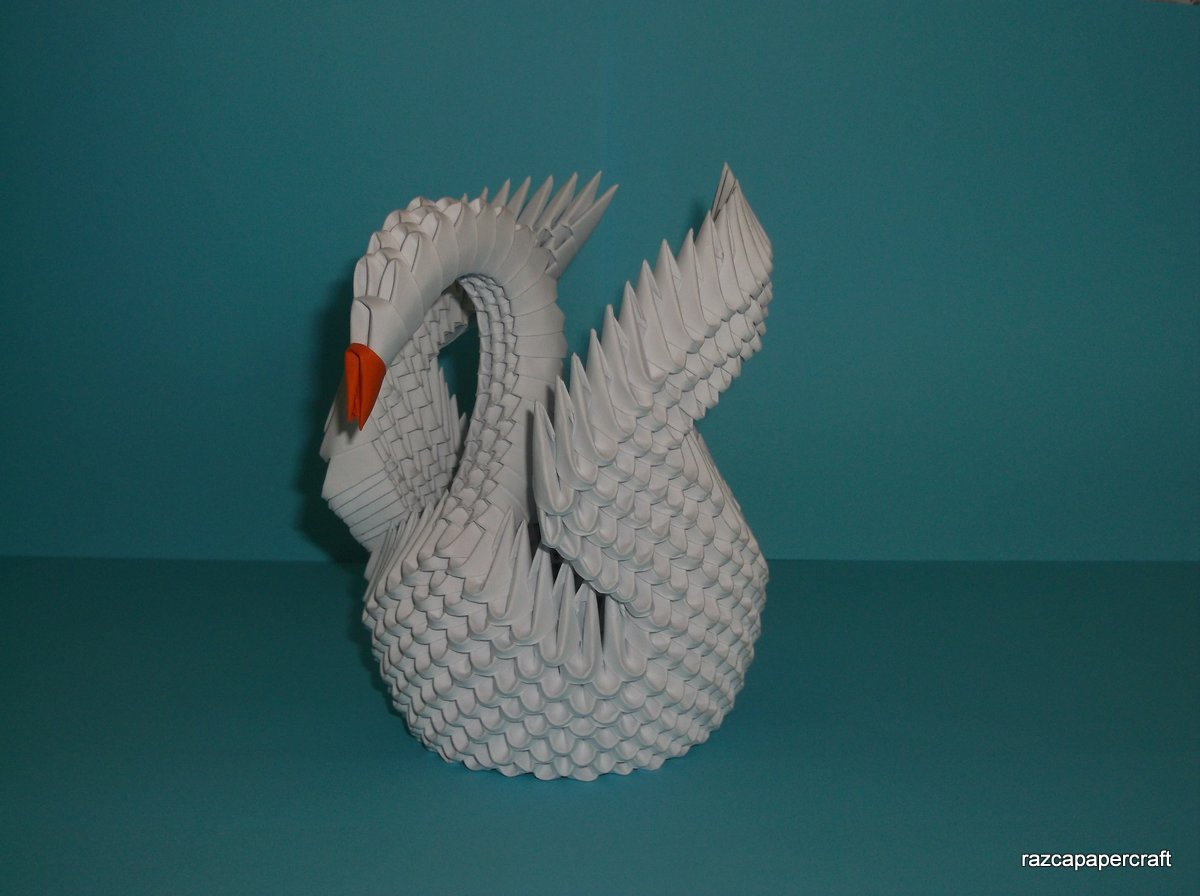 Razcapapercraft: HOW TO MAKE 3D ORIGAMI SWAN (MODEL3) - photo#9