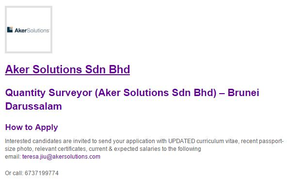 Oil &Gas Vacancies: Quantity Surveyor (Aker Solutions Sdn