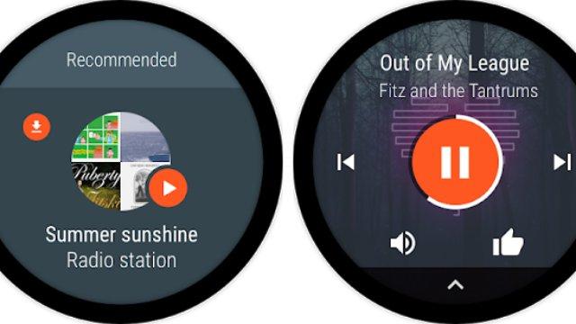 Google Play Music, Spotify, TuneIn Radio, iHeartRadio