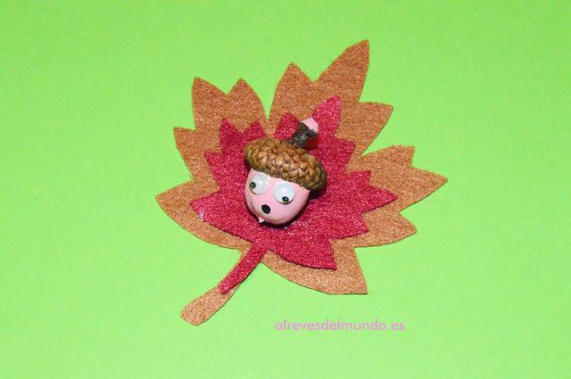 hoja otoño diadema bellota