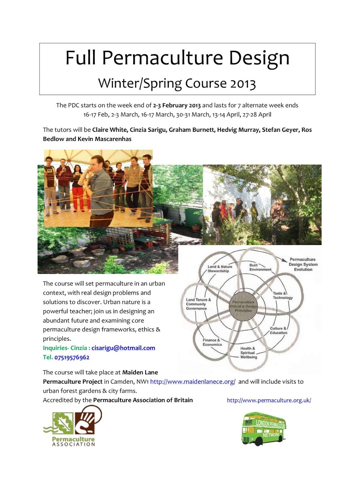 London Permaculture Design Course Feb 2013