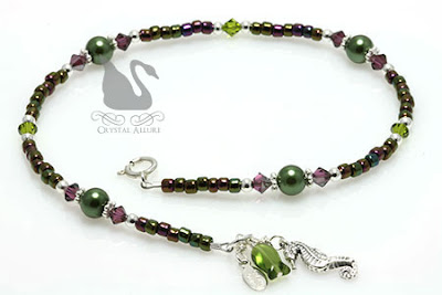 Purple Green Crystal Seahorse Charm Anklet (A112)