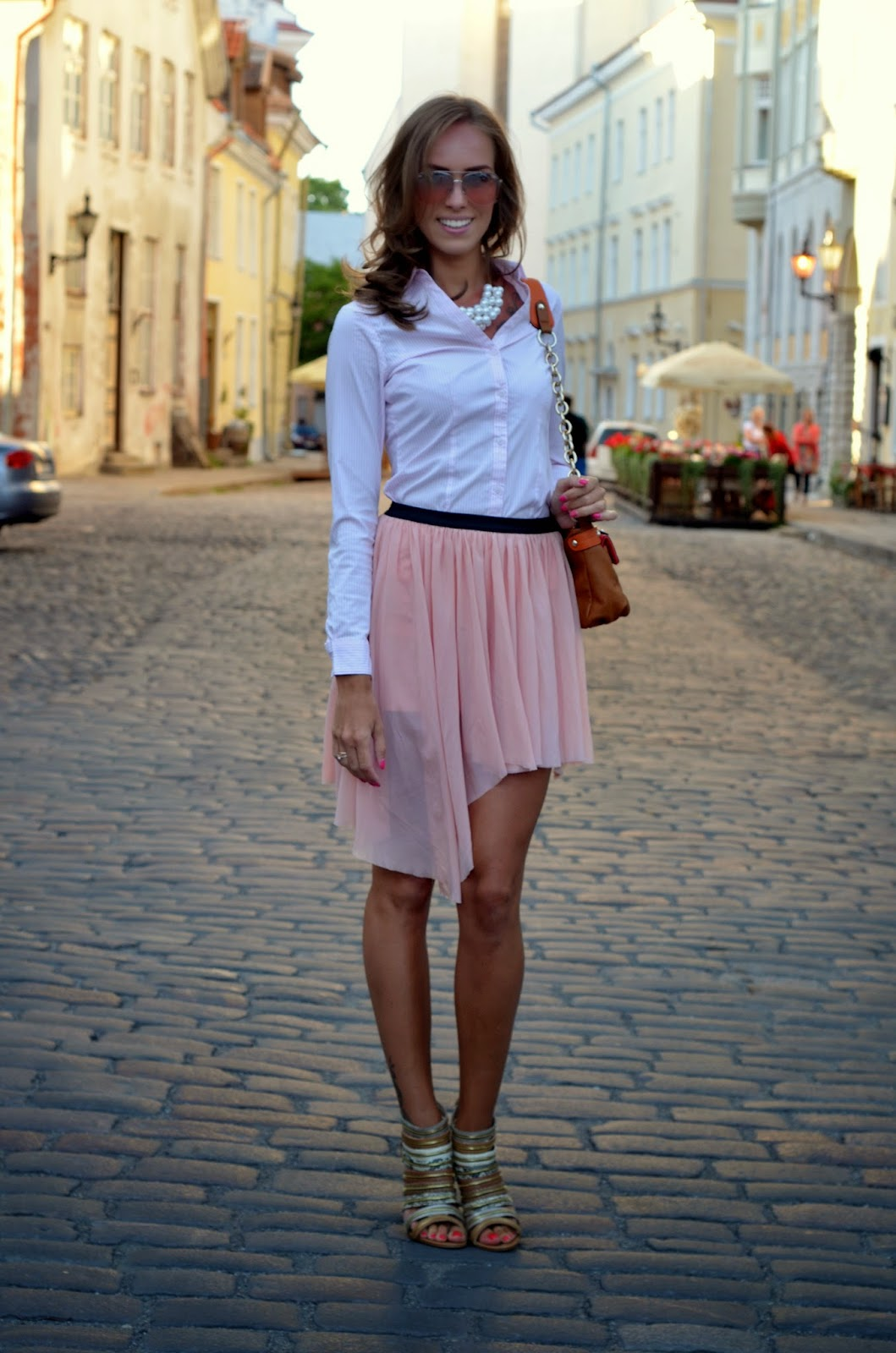 hm pink striped shirt mango sunglasses pink pleated skirt