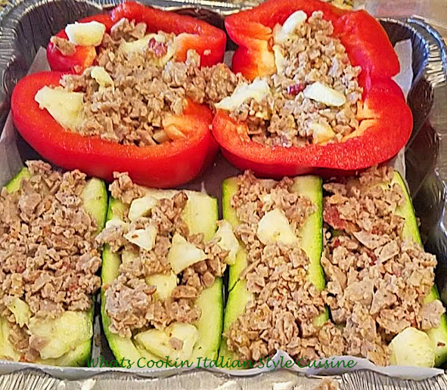 Low Carb Stuffed Peppers or Zucchini