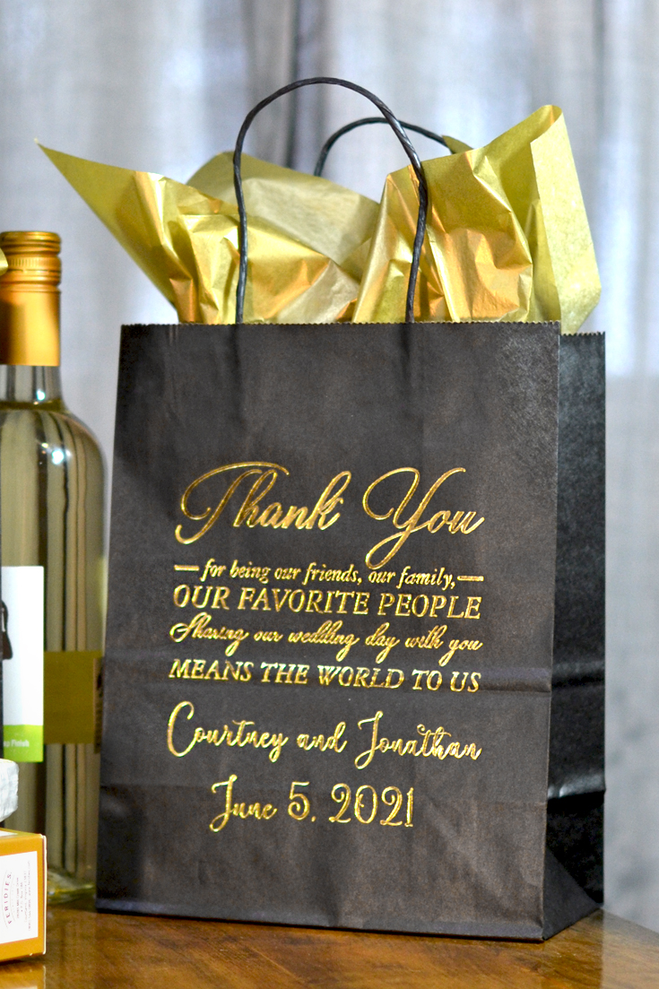 Black Thank You Message Wedding Guest Gift Bags