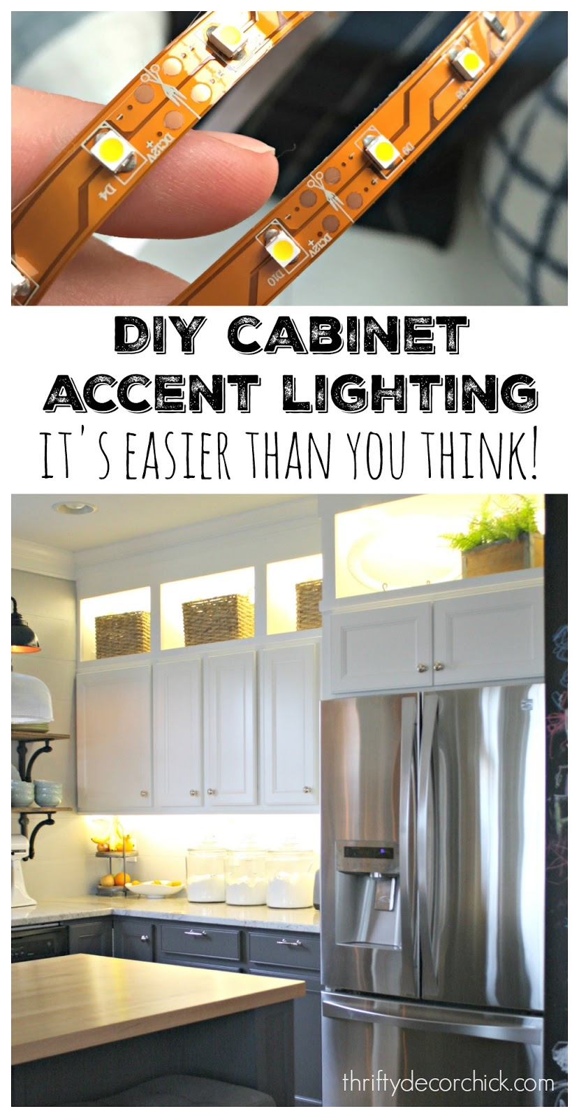 Rope Lights Above Cabinets In Kitchen Diy Upper And Lower Cabinet Lighting From Thrifty Decor Chick