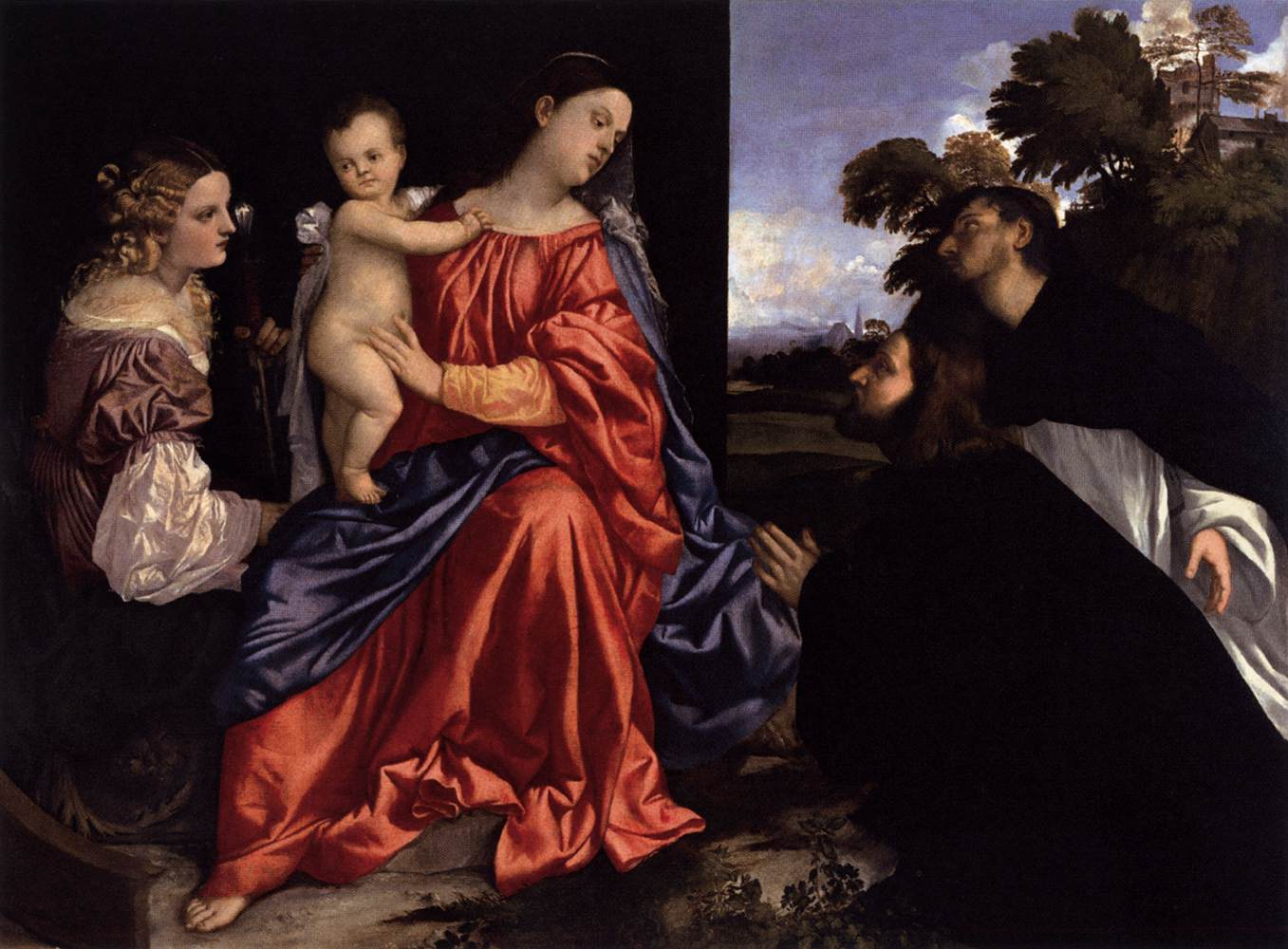 Madonna and Child with Sts Catherine and Dominic and a Donor Titian