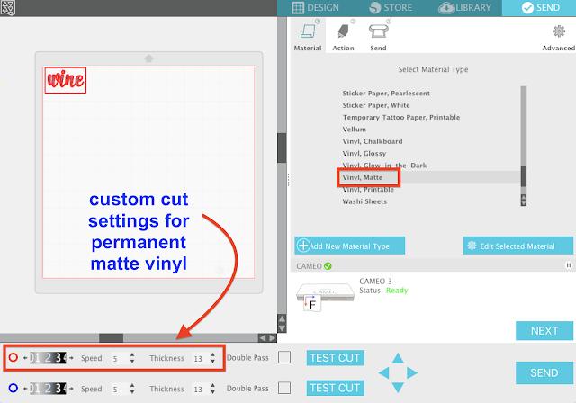 silhouette studio V4 tutorial add custom cut settings matte vinyl