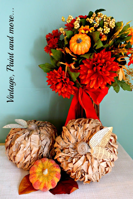 Vintage, Paint and more... lunch bag pumpkins used in a rustic fall vignette