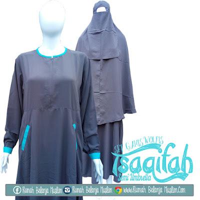 Set Gamis Syar'i Tsaqifah Semi Umbrella Abu Tua