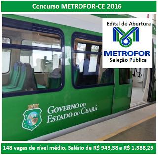 Edital Seleção Pública Temporária da METROFOR 2016.