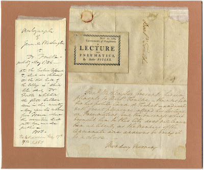 Mounted ephemera includes a ticket to a lecture on pneumatics presented by Doctor John Foulke on May 17, 1784 accompanied by a letter to Foulke from George Washington stating that he regrets he cannot attend. Also includes an explanatory note and brief description of the lecture.