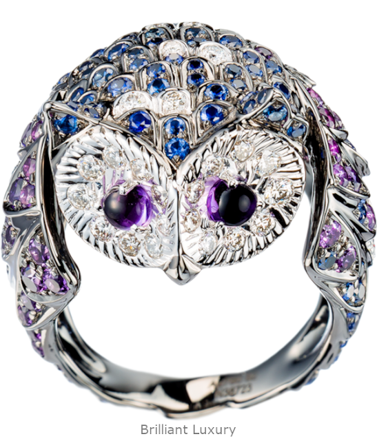 Brilliant Luxury♦Boucheron Paris Noctua Owl ring
