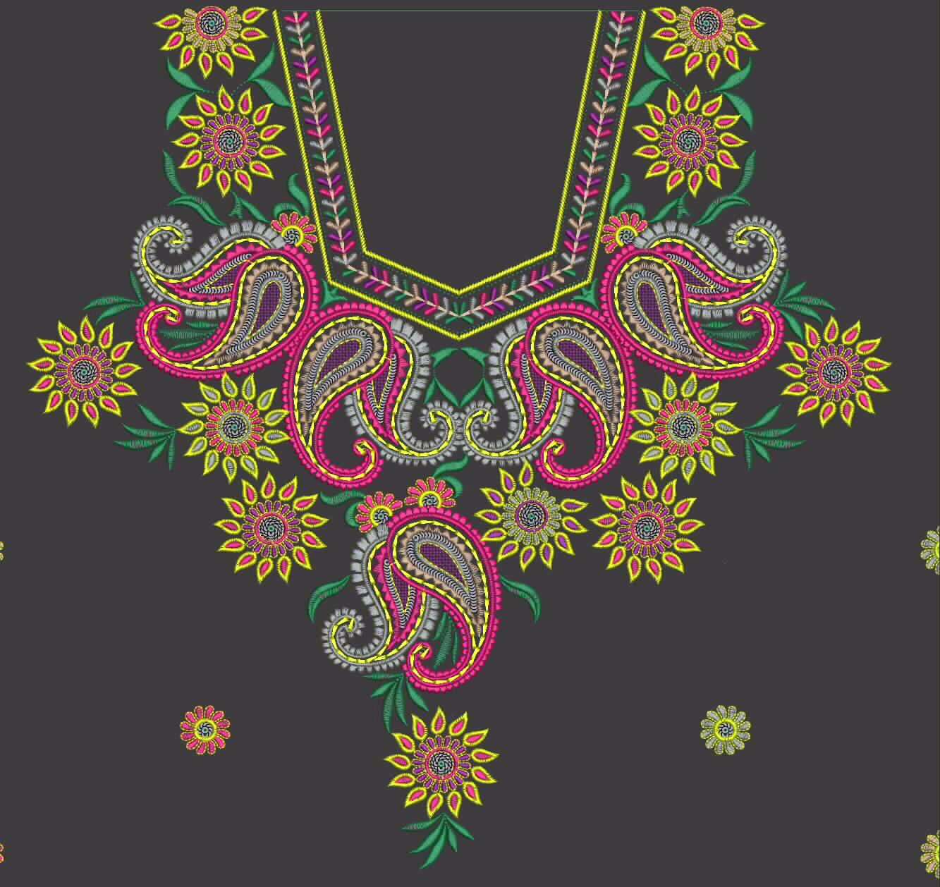 Machine Embroidery Neck Designs