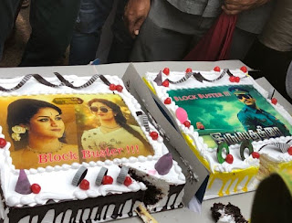 Keerthy Suresh with Vishal Celebrating The Success of their recent Blockbusters in Pandemkodi2 Shooting Spot 3
